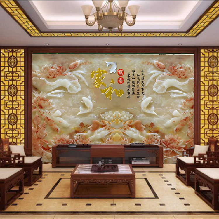 Seamless Whole Piece Large Mural 3D Imitated Jade Carving Chinese Style Living Room Television Background Wall And Rich