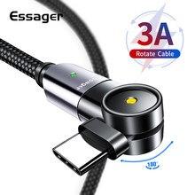 Essager obróć kabel USB typu C do Samsung Xiaomi mi szybkie ładowanie USB-C przewód zasilający USBC ładowarka type-c TypeC kabel do telefonu komórkowego