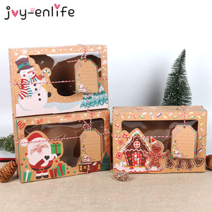 3/6/12pcs/lot Kraft Paper Christmas Cookie Gift Boxes New Year Favors Boxes For Cookies Treats Christmas Decoration For Home