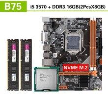 Kllisre B75 ensemble carte mère avec Intel Core I5 3570 2x8 GO = 16 GO 1600MHz DDR3 ordinateur de bureau de mémoire USB3.0 SATA3