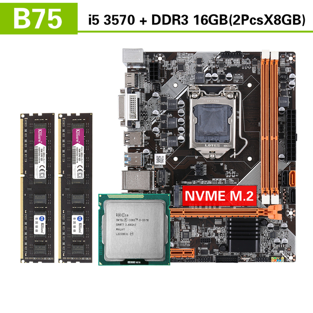 Kllisre B75 motherboard set with Intel Core I5 3570 2x8GB=16GB 1600MHz DDR3 Desktop Memory USB3.0 SATA3