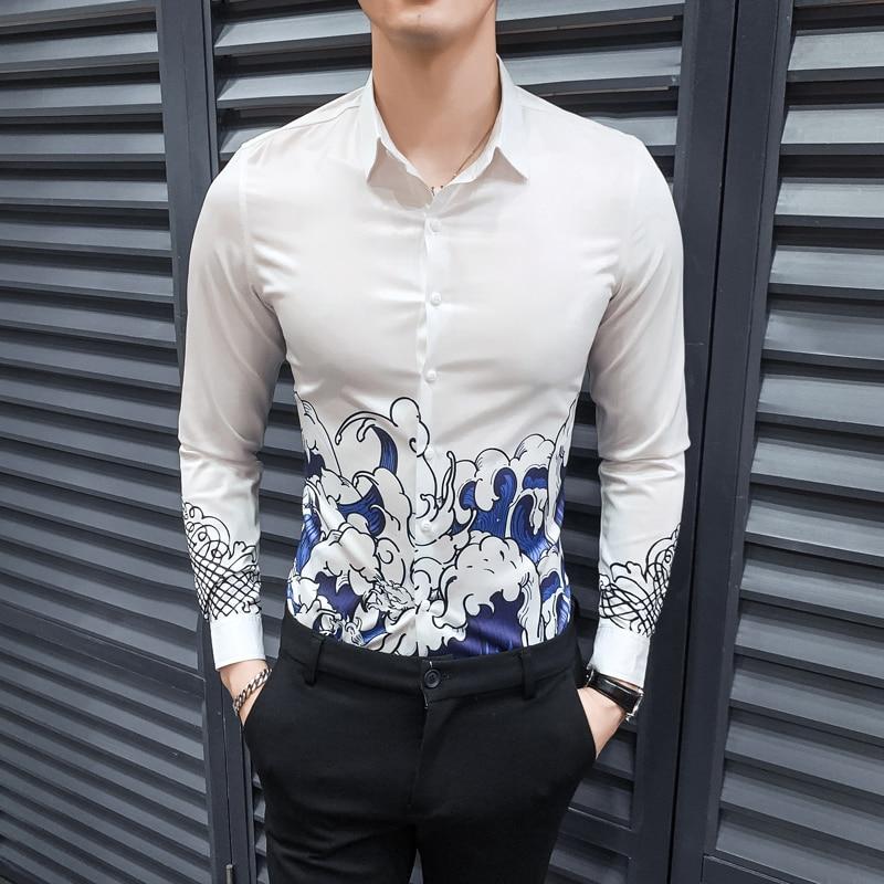 Original Fashion Men Shirt 2020 New Digital Print Mens Casual Shirts Long Sleeve Streetwear Slim Fit Night Club Tuxedo Dress 4XL