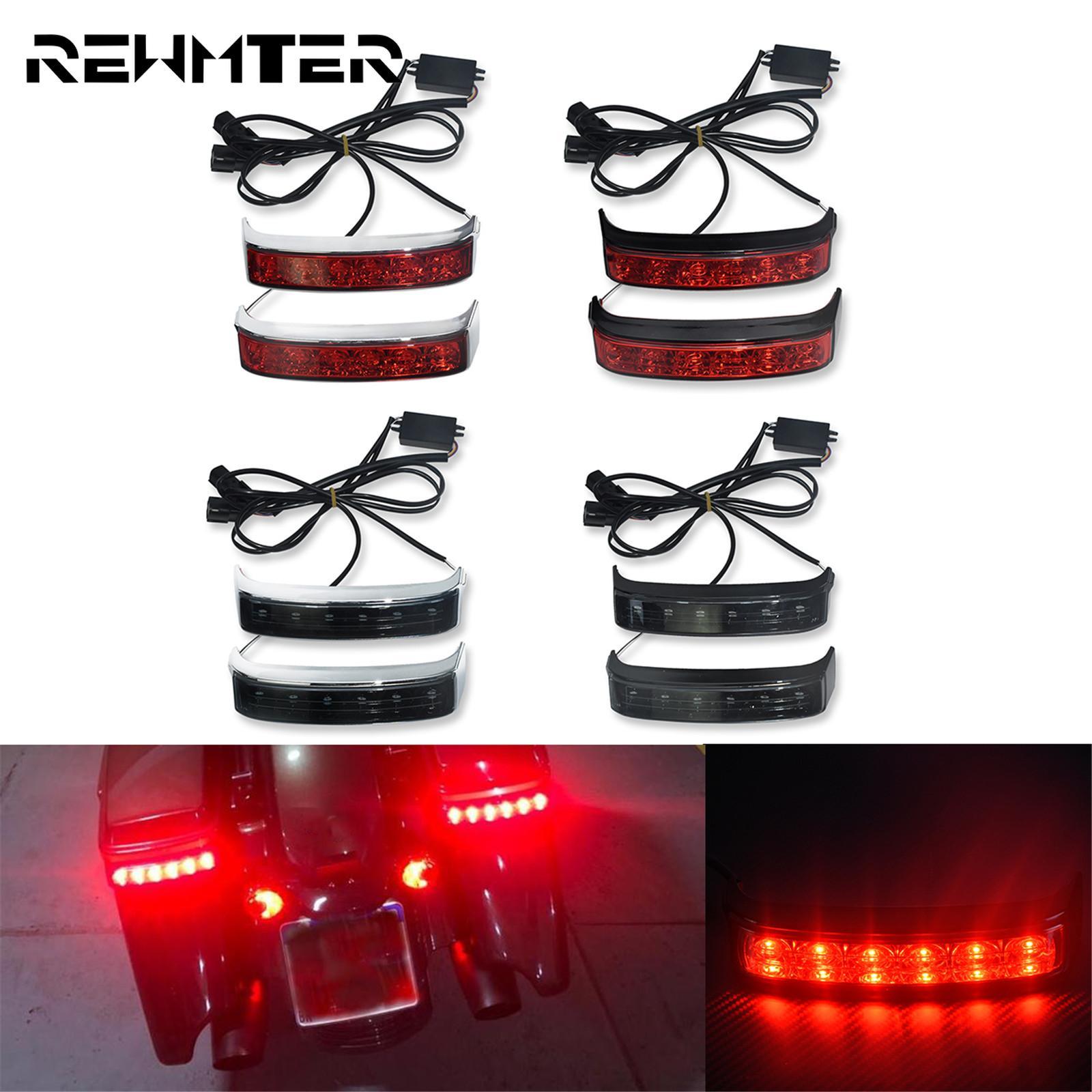 Motorcycle LED Saddlebag Run Brake Turn Signal Light Black/Chrome Housing Smoke Red Lens Lamp For Harley Touring Road King 14-20