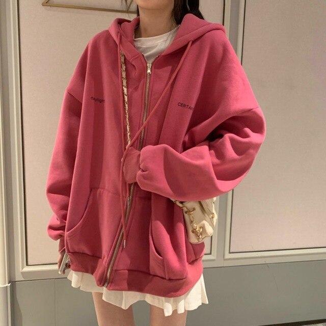 plus size Hoodies Women Harajuku streetwear kawaii oversized zip up sweatshirt clothing korean style long sleeve tops 6