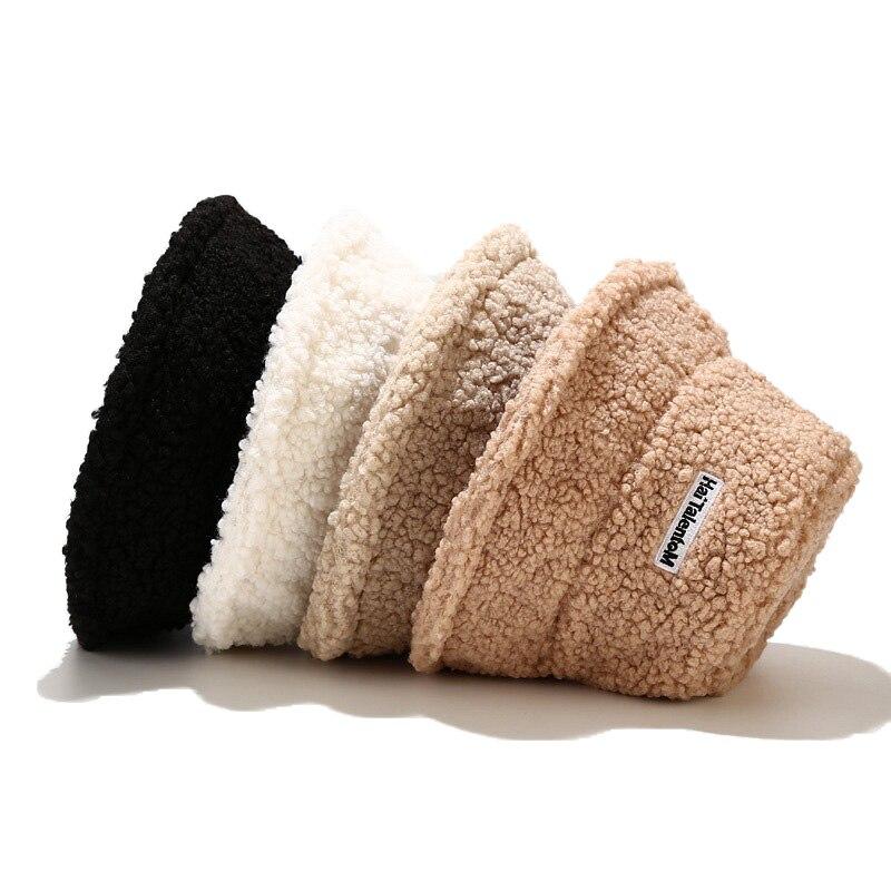 Autumn Winter Hat Women Fashion Korean Version Simple Letter Embroidery Teddy Fur Fisherman Hat Versatile Shapeable Basin Hat