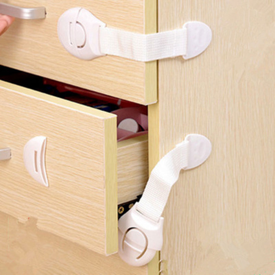 10Pcs/Lot Baby Safety Locks Child Protection Drawer Door Cabinet Cupboard Child Safety Plastic Locks Straps Kids Baby Protection