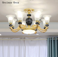 European high-end painted ceramic chandelier living room dining room bedroom luxury led alloy Chandelier free shipping