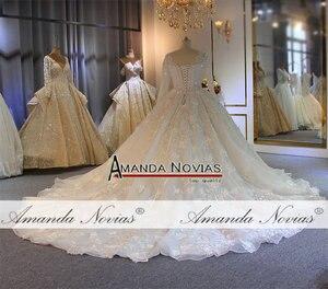 Image 2 - طويلة الأكمام الكرة ثوب كامل الديكور زفاف القادمون الجدد أزياء فستان عروس