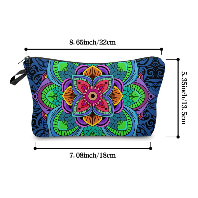 Makeup Bag Toiletry Pouch Waterproof Cosmetic Bag With Mandala Flowers Patterns 10 Styles