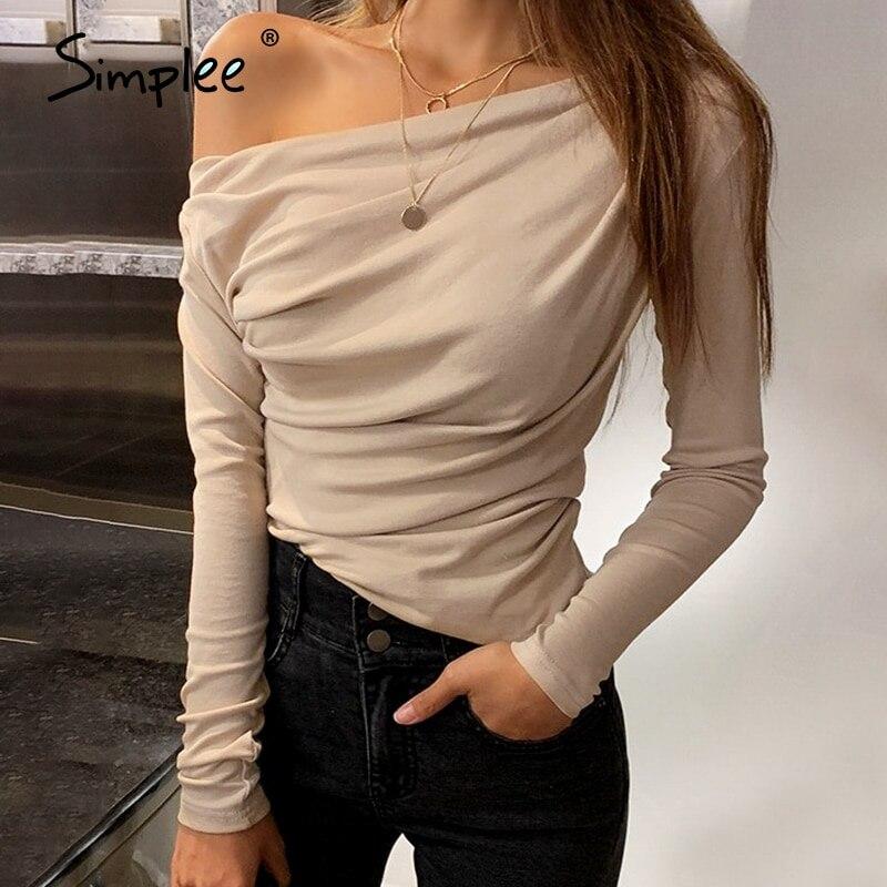Simplee-Camiseta informal de un hombro para mujer, camiseta de manga larga, tops para mujer, tops sexys asimétricos ajustados sólidos para mujer, camisas 2020