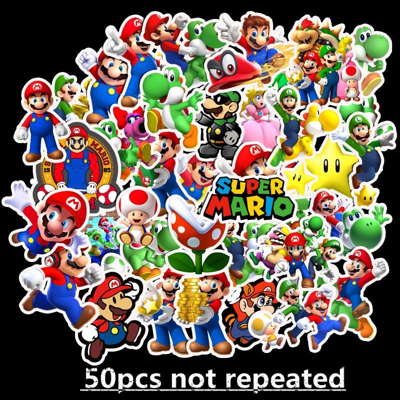 50pcs Cartoon Super Mario Waterproof Graffiti Stickers Guitar Skateboard Suitcase Girl Children Funny Sticker Classic Toy