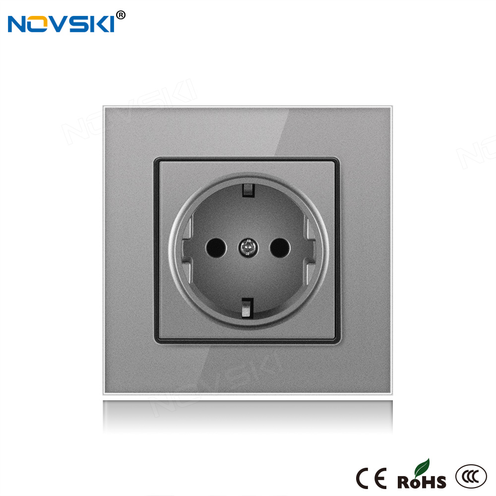 NOVSKI Electrical <font><b>Socket</b></font> <font><b>Pop</b></font> розетка German Plug, EU Russian Outlet 16A <font><b>Socket</b></font> Grounded 110-250V Grey, <font><b>White</b></font>, <font><b>Black</b></font>, Gold image