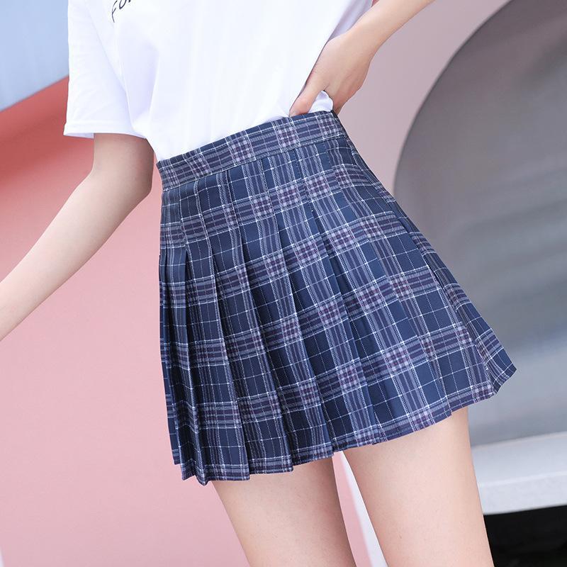 ZITY xs-3xl Plaid lato kobiety spódnica 2020 wysokiej talii szwy uczeń plisowana spódnica kobiety słodkie słodkie dziewczyny taniec Mini spódnica