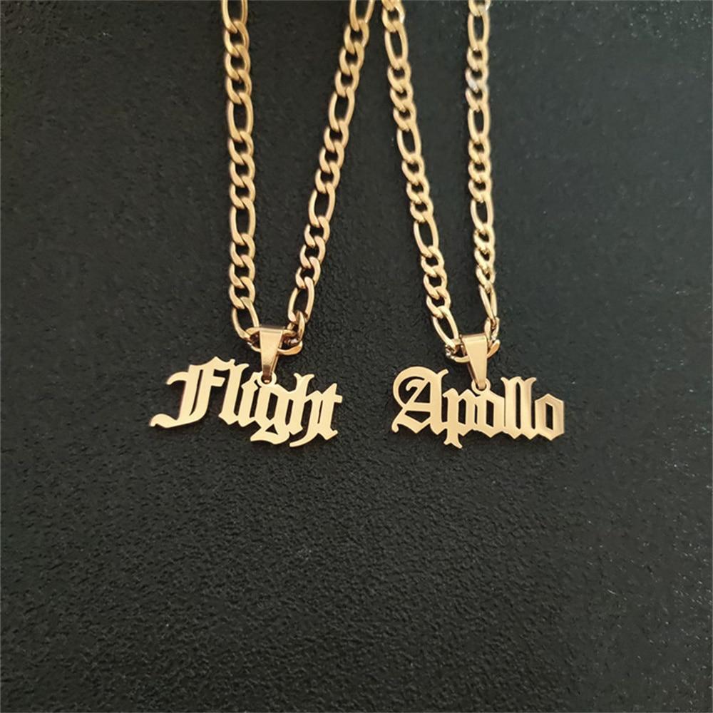 Personalized Figaro Chain Name Necklace \u2022 Customized Name Pendant With Figaro Chain \u2022 Any NameWord Nameplate \u2022 Customized MenWomen Jewelry