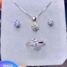 YANHUI Оригинальные 925 Серебряное кольцо и серьги и ожерелье набор инкрустация 6 мм 1.0ct Цирконий бриллиант набор украшений для женщин ST1263