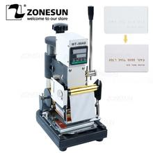 ZONESUN máquina de estampación en caliente de 220V/110V, cortadora de tarjetas para cuero, tarjeta de PVC + 2 gratis FO