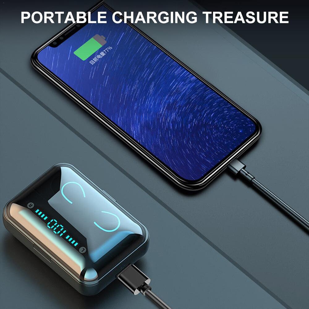 Беспроводные наушники Bluetooth 5,0 светодиодный дисплей F9 TWS беспроводные Bluetooth наушники вкладыши 8D стерео гарнитура с 3500 мАч банк питания