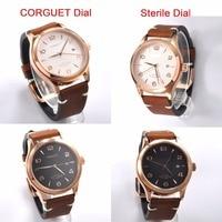 Corgeut 42mm 고급 브랜드 사파이어 크리스탈 캘린더 다이얼 가죽 골드 케이스 자동 기계 남성 손목 시계