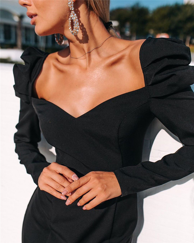 2019 Autumn NEW Women 39 s Dress large Size L Black Casual Cool Comfortable Fashion Clavicle Puff Sleeve Dress Ladys Clothing in Dresses from Women 39 s Clothing