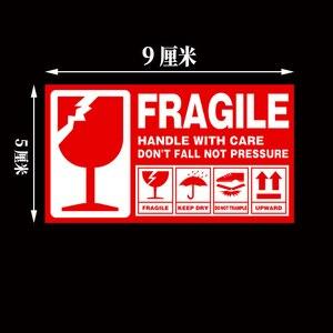 Image 3 - Kırılgan etiket 500 adet/grup kolu ile bakım kırılgan çıkartmalar 9cm X 5cm Express uyarı etiketi