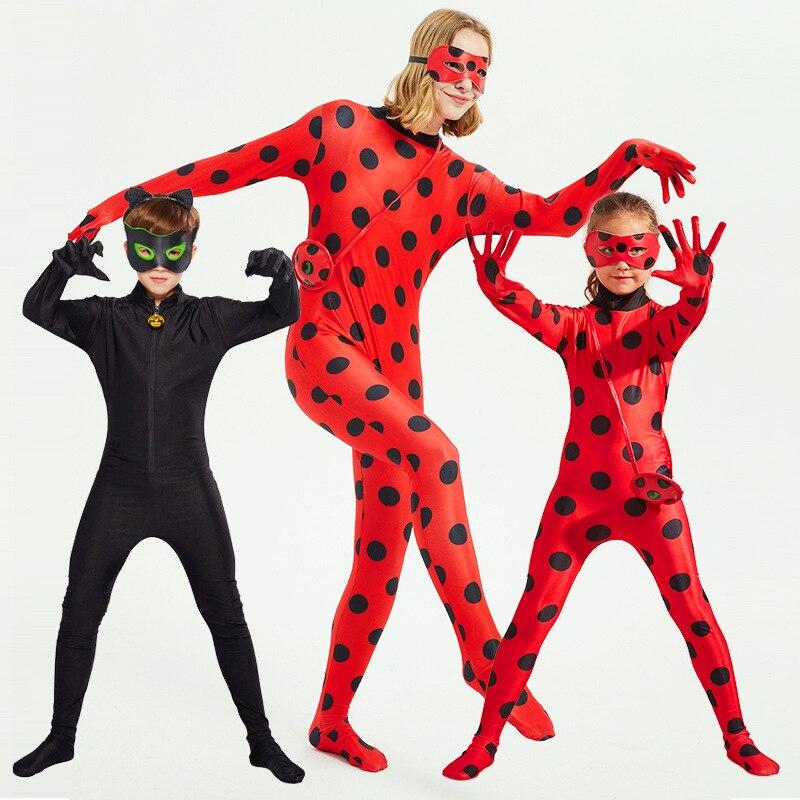 Adult Kids Lady Bug Costume Black Cat Noir Cosplay Marinette/Adrien Spandex Jumpsuit Ladybug Costume Zentai Suit Halloweew Cospl