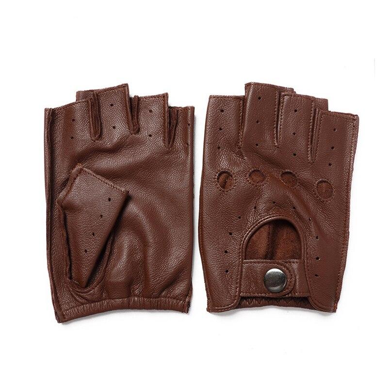 Spring Men Genuine Leather Gloves Driving Unlined 100% Goatskin Male Half Finger Gloves Fingerless Gym Fitness Gloves