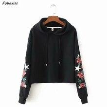 Hoodies Women 2019 Embroidery Long Sleeve Hooded Oversized Loose Causal Sweatshirt Kpop Gothic Streetwear Lady