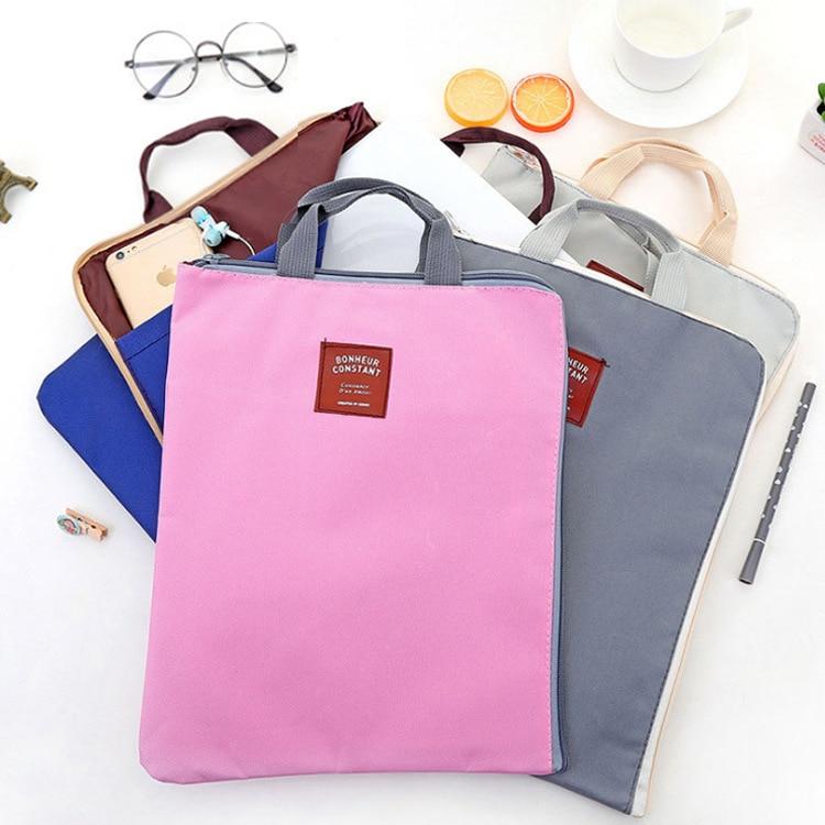 Multi Function School Student Handle Zipper File A4 Document Bag Canvas Cloth Travel A4 Document Bag Ipad Laptop Hnadle Bag