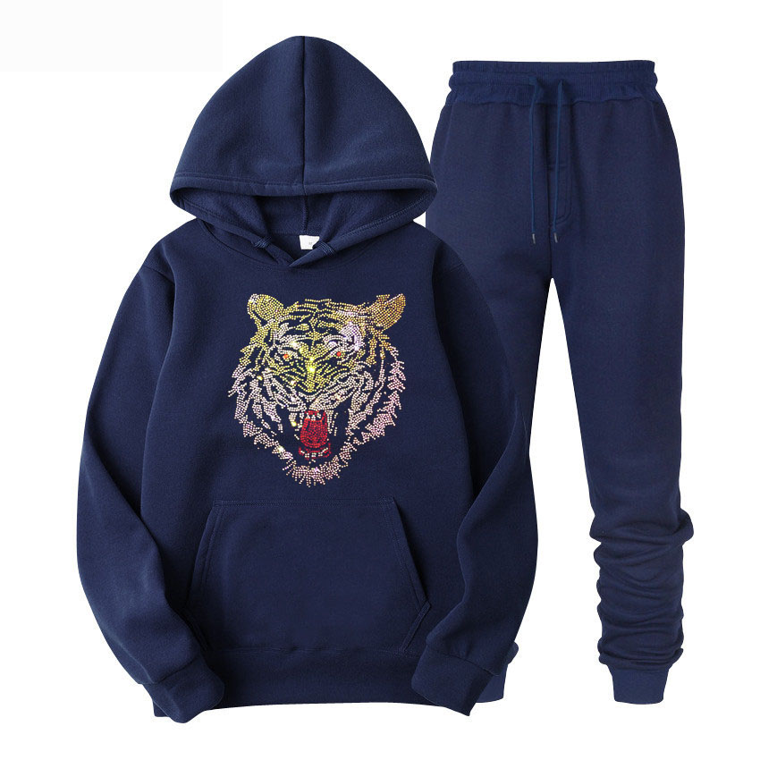 Men Blings Beads Sequins Hooded Full  Gym TrackSuit Sport Jacket Coat Sweats Bottom Top Suit Trousers Pants Track Suit Outfit