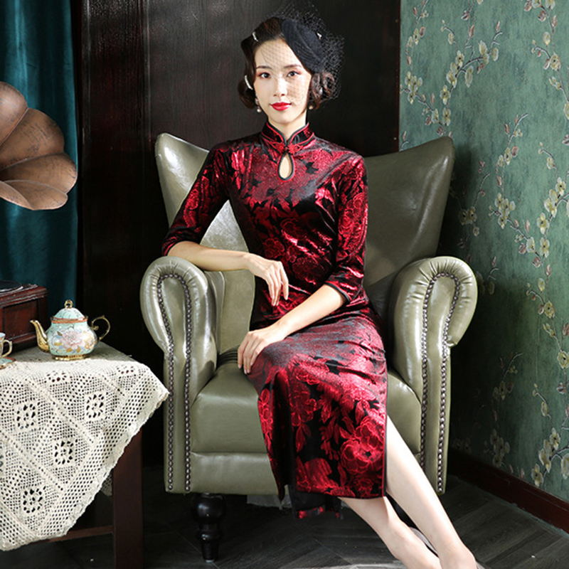Exquisite Velour Long Evening Party Dress Lady Black Half Sleeve Vintage Cheongsam Mandarin Collar Sexy Qipao Plus Size 3XL 4XL