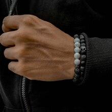 Luxurious Crown Charm Bracelet Men Fashion 8mm Natural Howlite Lava Stone Strand Bead Bracelet For Men Women Party Jewelry Gift crystal bead and crown bracelet safety chain luxury strand bracelet