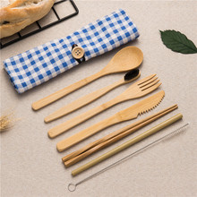 Wooden Tableware Cutlery Set Natural Eco-Friendly Bamboo Straw with Fork Knife Spoon Dinnerware Set for Work and Outdoor Travel portable bamboo korean cutlery set wooden tableware knife fork spoon set with eco friendly bamboo straw for travel cutlery set