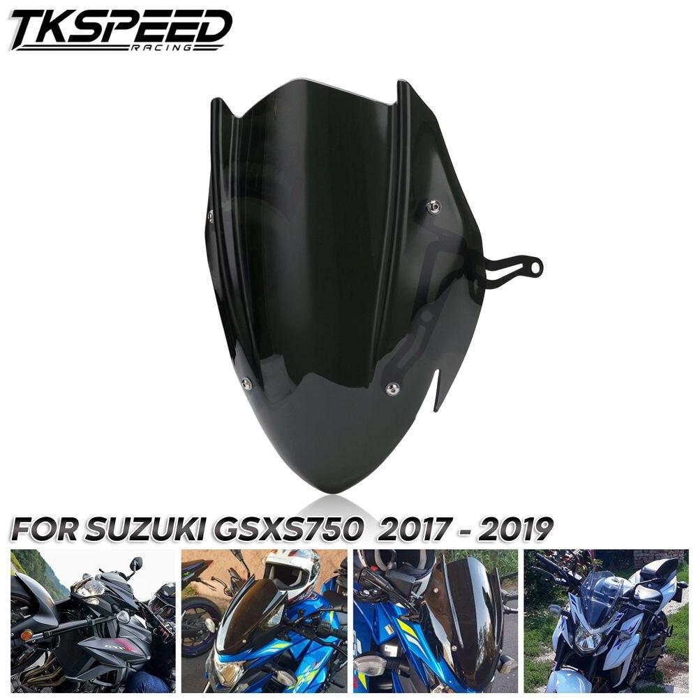 For Suzuki GSX-S750 GSXS750 GSX-S GSXS 750 2017 2018 2019 Black Color Windscreen Windshield Shield Screen With Bracket