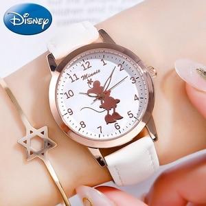 Image 1 - Новые милые кварцевые часы с Минни Маус для девочек, женские часы на ремешке для подростков, подарок на день рождения, женские часы