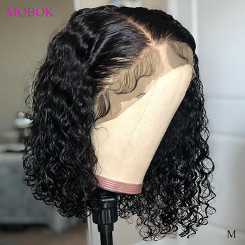 Mobok Curly Bob Wig 13X4 Lace Front Human Hair Wigs Remy 150% Brazilian Hair Wigs Short Bob Wigs Pre Plucked For Black Women panda 13x4 kinky curly lace front human hair bob wigs brazilian remy 150% density human hair lace front bob wigs for black women