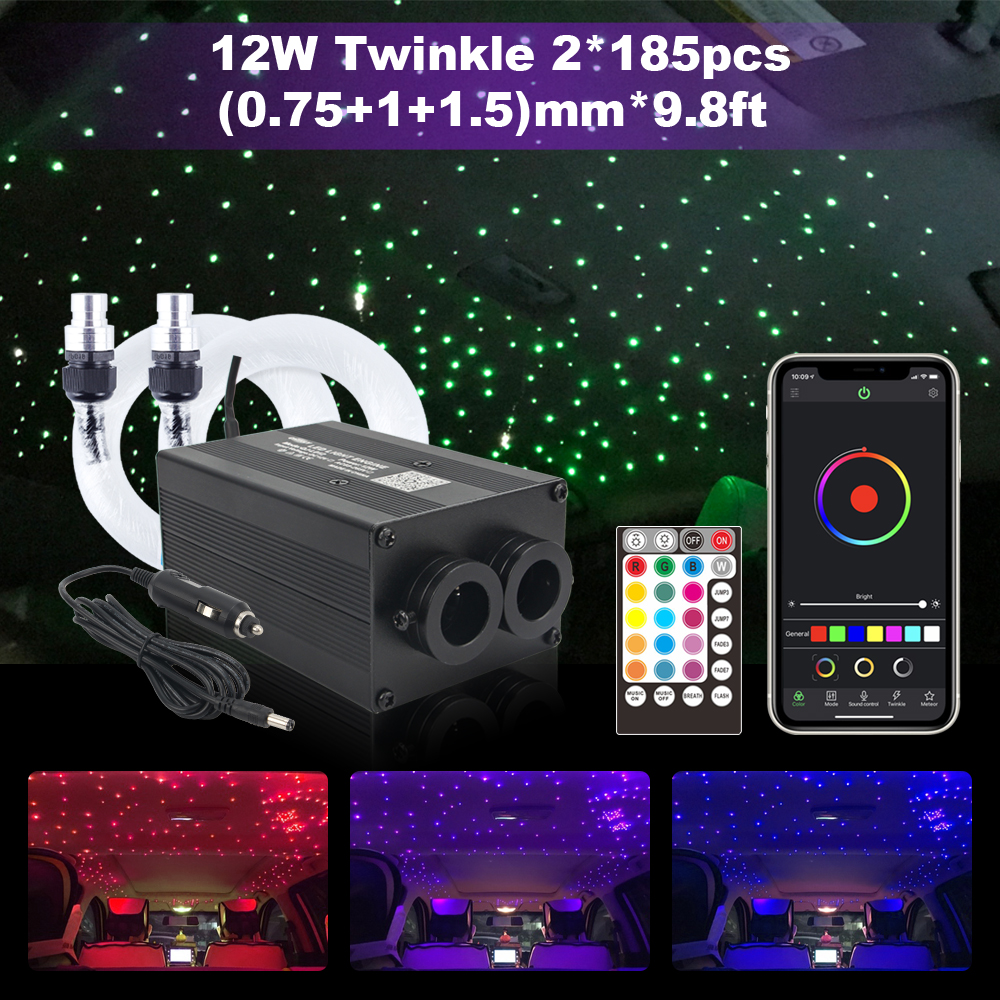 Twinkle Fiber Optic Lights Smartphone  Bluetooth APP Control 12W Music Control 370pcs Cable Car Roof Starry Sky Ceiling Light
