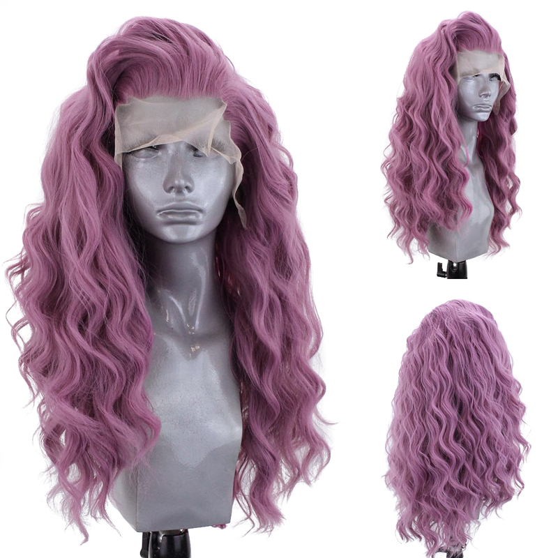 Charisma Natural Hairline Hand Tied Wavy HairDaily Makeup Synthetic Lace Front Wigs For Women Purple Wig Cosplay Wig