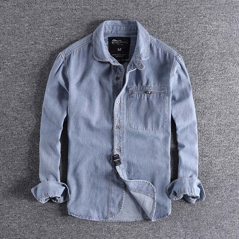 2019 Fashion Designer Autumn And Winter New Youth Lapel Tops Foreign Trade Original Single Men's Denim Blouse Long Sleeve Boy XL