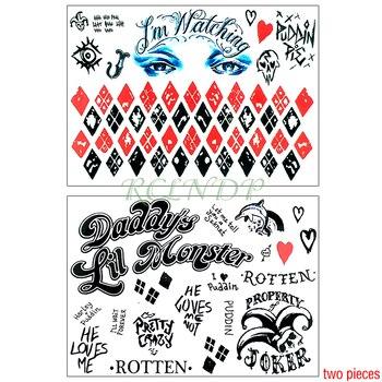 Waterproof Temporary Tattoo Sticker Suicide Squad Harley Quinn joker clown tatto flash tatoo fake for men girl women
