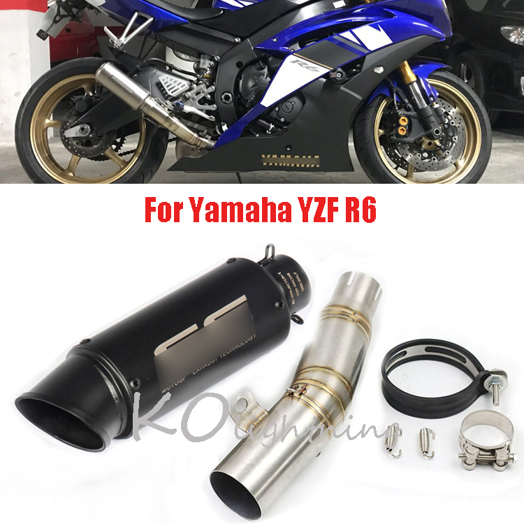 YZF-R6 Motorcycle Exhaust Escape Tail Muffler Pipe Mid Link Connect for Yamaha YZF R6  2006-2016