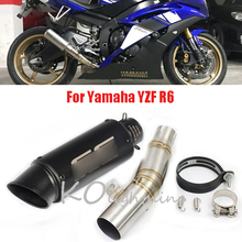 YZF-R6 Motorcycle Exhaust Escape Tail Exhaust Muffler Pipe Mid Link Connect Pipe for Yamaha YZF R6 YZF-R6  2006-2016 цена