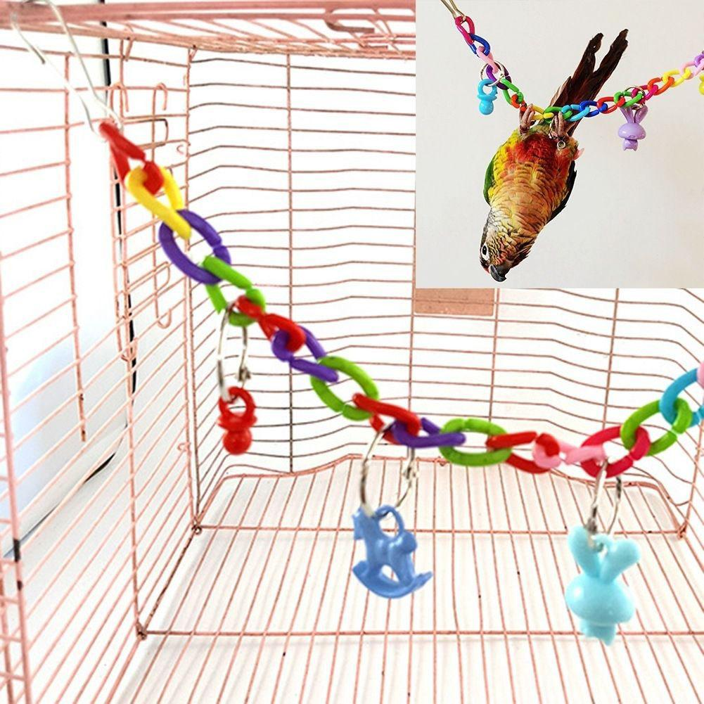 MeterMall Colorful Bird Toy Parrot Swing Cage Toy Climbing Toy For Parakeet Cockatiel Budgie Lovebird 35cm