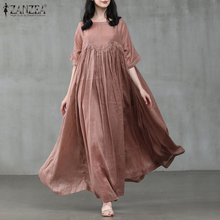 Kaftan 5XL Sundress Half-Sleeve Party Zanzea Women Plus-Size Vintage Summer Casual Solid
