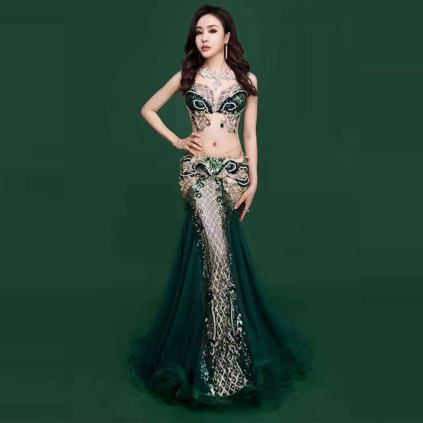 Women Belly Dance Costume Set Professional Custom Long Skirt Mesh Suit Oriental Dancing Competition Bellydance Practice Outfit