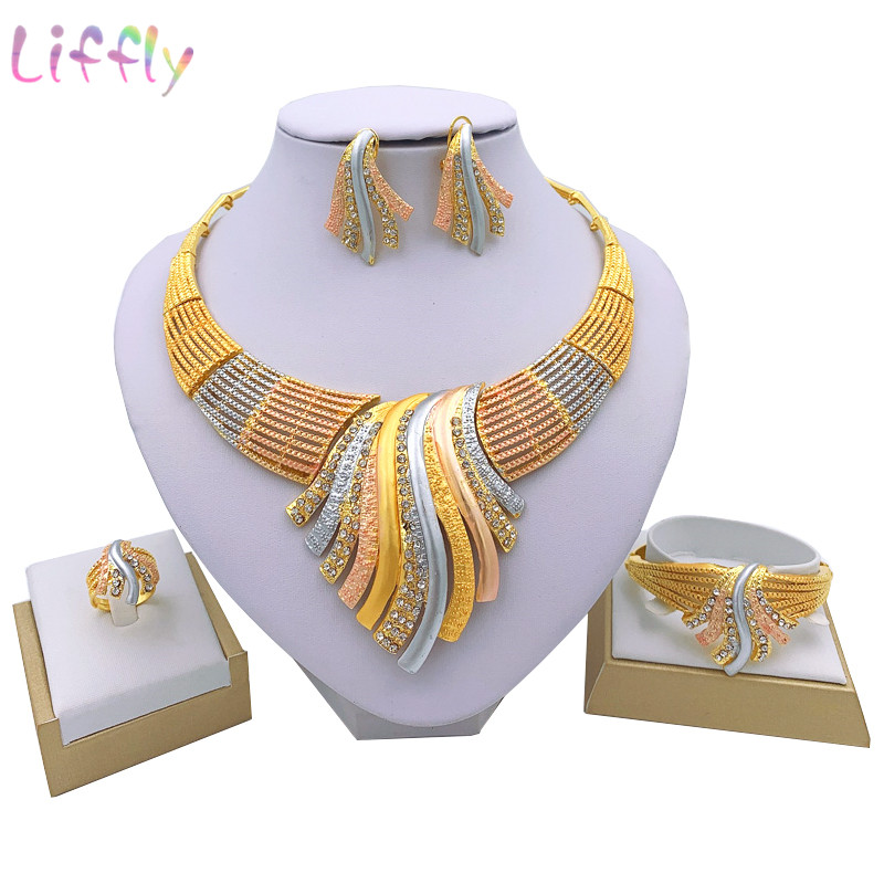 Liffly New <font><b>Indian</b></font> Jewelry Sets Multicolor Bridal Wedding Big Crystal Dubai Gold Jewelry Sets for Women Necklace Earrings image