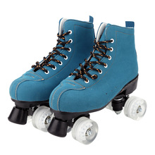 Men Women Double Line Roller Skate Retro Suede Flash Wheel Martin Boots Patines Sports Entertainment Fitness Skating Shoes 35-45