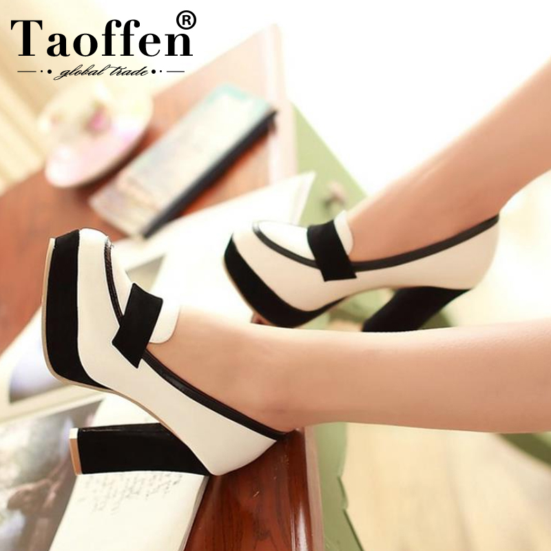 TAOFFEN Ladies High Heel Shoes Women Sexy Dress Footwear Fashion Lady Female Brand Pumps Hot Sale EUR Size 34-48