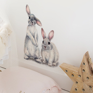 Image 3 - Two cute rabbits Wall sticker Childrens kids room home decoration removable wallpaper living room bedroom mural bunny stickers