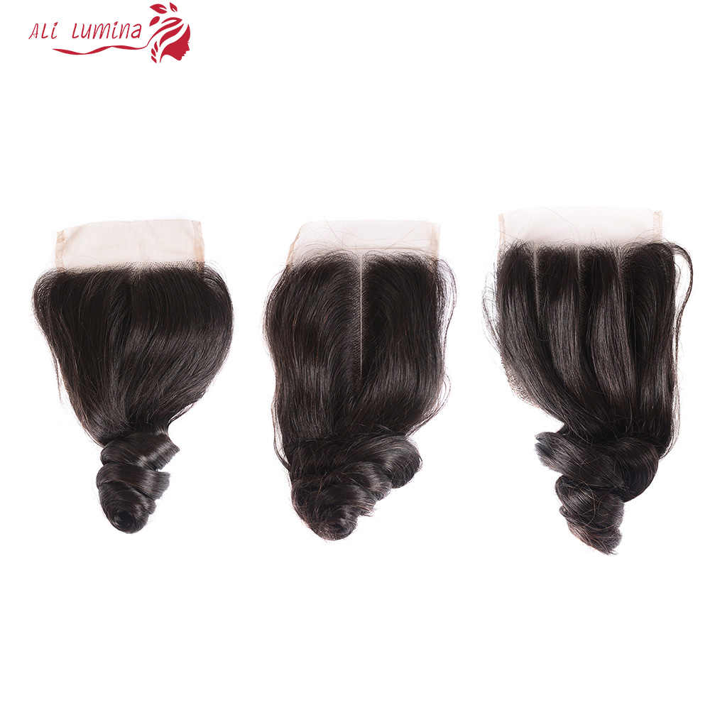 Ali Lumina Loose Wave Human Hair 4X4 Lace Closure Brazilian Remy Hair Closure With Natural Hair Line 8-22 Inches