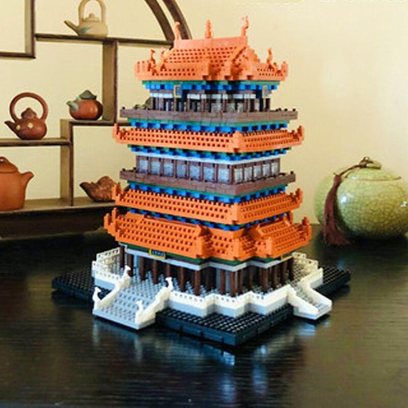 Lezi World Architecture Leifeng Pagoda Tower 3D Mini Diamond Blocks Building Toy